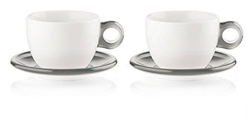 Fratelli Guzzini Gocce, 2 Frühstückstassen mit Untertassen, SMMA Porcelain