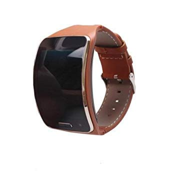 Toogoo R Genuine Leather Watch Band for Samsung Gear S Sm R750 Brown