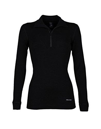 DILLING Merino Langarmshirt für Damen mit hohem Kragen und Reißverschluss Schwarz 46