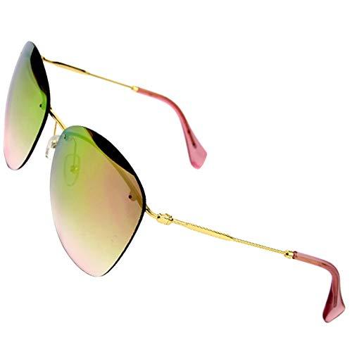 FEYGB Sonnenbrillen Sonnenbrille Damen Outdoor Reise UnisexRandlos OvalSonnenbrilleDamen Herren Fahren, Pink