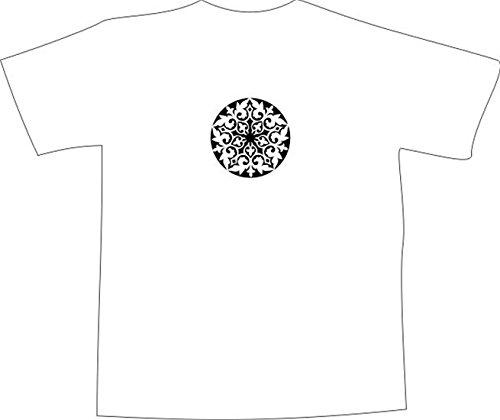 T-Shirt E1142 Schönes T-Shirt mit farbigem Brustaufdruck - Logo / Grafik / Design - abstraktes Ornament mit schönen Ranken und Blättern Weiß