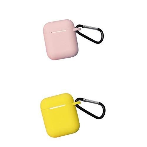 Almencla 2er Pack Silikon Schutzhülle Tasche Schutzcase Hülle Abdeckung für Apple AirPods Kopfhörer Pink/Gelb (Kopfhörer Pack)