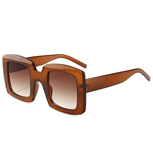 WYJW Für Männer \u0026 Damen XL Übergroße Flat Top Square Tone Farbe Mode Sonnenbrillen MS gespiegelt Fahren Sonnenbrille 100% UV-Blockierung