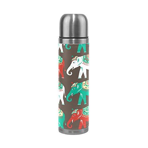 Botella de agua con diseño étnico de elefantes indios, color verde, blanco,...