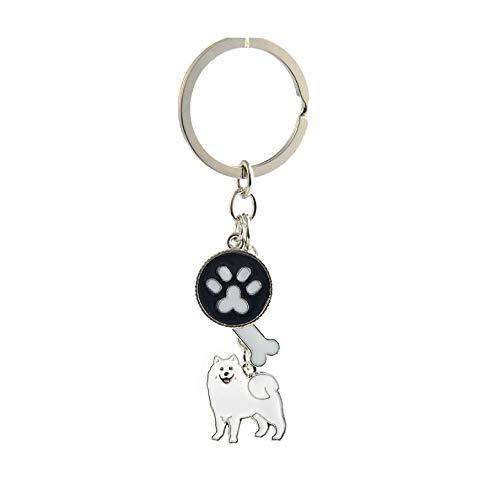 Samojeden Charms Schlüsselanhänger für Frauen Männer Mädchen Silber Farbe Legierung Metall Haustier Hund Anhänger Auto Tasche Schlüsselanhänger Schlüsselanhänger Mode Schmuck -