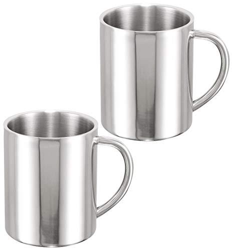 COM-FOUR® 2 Kaffeebecher aus Edelstahl, Kaffeetasse je 260 ml, Kaffeepott (02 Stück - Becher silberfarben)