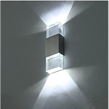 ac426c6b4d14 Unimall LED Wall Light 6W Transparent Acrylic with Silver Stripe Wall Lamp  Modern Interior Up Down