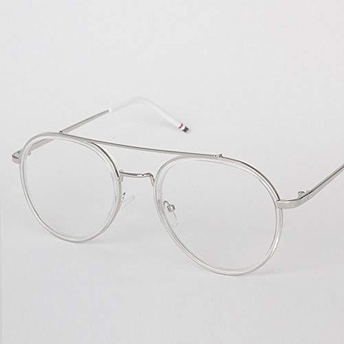WULE-RYP Polarisierte Sonnenbrille mit UV-Schutz Runde Flache Spiegelglas Kröte Brillengestell für Frauen. Superleichtes Rahmen-Fischen, das Golf fährt (Farbe : Silver Frame-Clear)