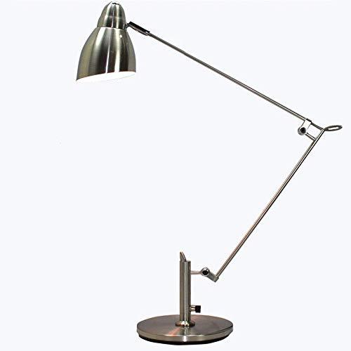 Arbeitstisch Lampe Aus Aluminium,Industrielle Windtischlampe,Schreibtischlampe Mit Schwenkbarem Arm, Leselampe Mit Drehbarem Kopf, Designerlampe,E27,Edelstahl