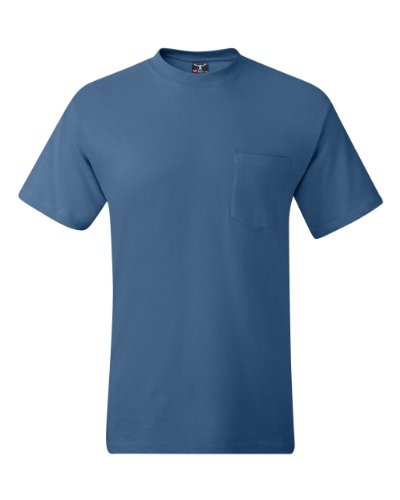 Hanes Men's Beefy-T T-Shirt With Pocket Jeansblau
