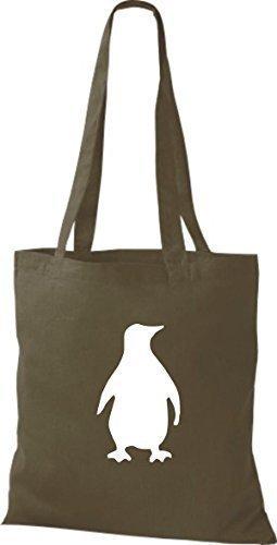 ShirtInStyle Stoffbeutel Pinguin Baumwolltasche Beutel, diverse Farbe olive green