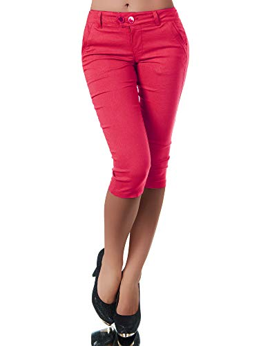 Diva-Jeans Damen Caprihose Treggings Leggings Stoffhose Sommerhose Knielang 3/4 Capri N827, Farben:Rot, Größen:XL