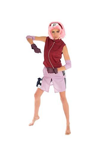 Chaks Naruto Damen Kostüm Sakura Haruno 6tlg rosa rot - M