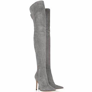 RTRY Scarpe Donna Vera Pelle Autunno Inverno Comfort Stivali Stiletto Heel Punta-Coscia Stivali Alti Per Casual Nero Grigio US5.5 / EU36 / UK3.5 / CN35