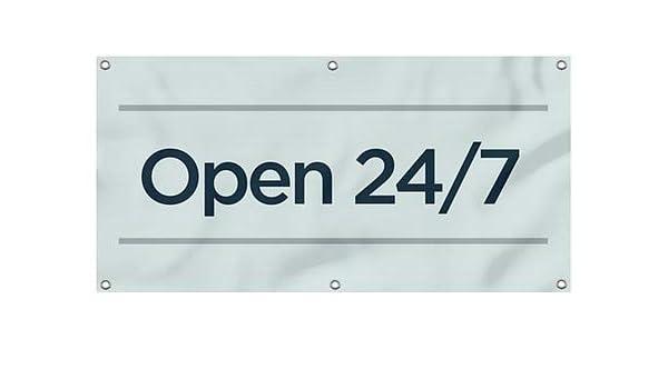 8x8 Open 24//7 Stripes Blue Wind-Resistant Outdoor Mesh Vinyl Banner CGSignLab