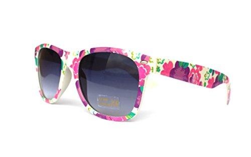 50er 60er 80er 90er Jahre Vintage Sonnenbrille Sommerbrille Clubmaster Style Rockabilly Trend 2017 2018 Mode Fashion Fashionbrille Designer Brille Unisex blumen pink