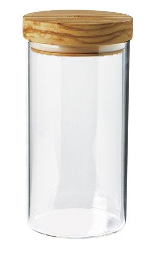 Bérard Behälter mit Deckel (900 ml) Aufbewahrungsbehälter, Olivenholz, Holz, 10 x 10 x 20 cm