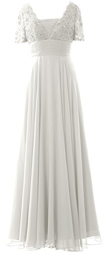 MACloth Women Short Sleeves Mother of the Bride Dress Lace Formal Evening Gown Ivoire