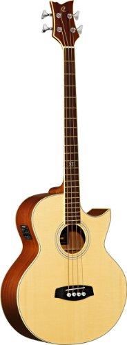 Ortega Guitars D1-4LE Akustikbass 4-Saiter elektrifiziert Linkshänder natur hochglänzendes Finish mit hochwertigem Gigbag, Ledergurt und Straplocks