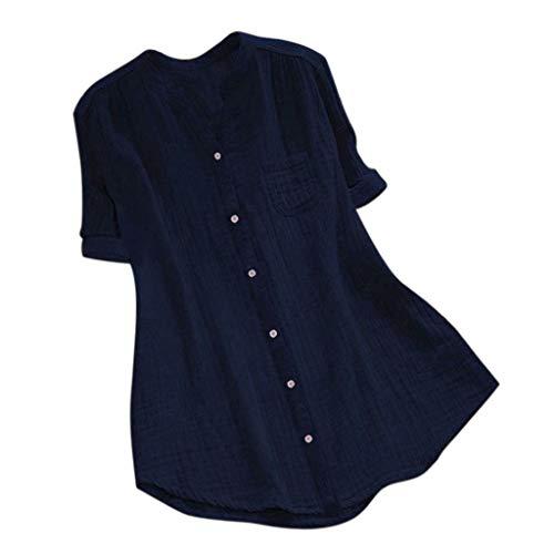 CAOQAO Sweatshirt Damen Baumwollleinen Bluse Oberteile Hemd Lose Stehkragen Kurzarm BeiläUfige Lose Tunika Tops T Shirt Bluse