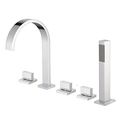 XSGDMN Bad Wasserhahn Auslauf, Chrom Quadrat Mono Messing Wasserhahn Mit Handspray und Filter Outlet Fünfteiliger Anzug Verchromter Spiegel -