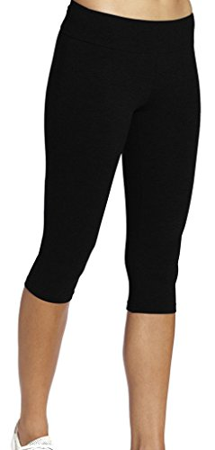 leggings mädchen Schwarz Joggings hose Legging damen Tights Capri YOGA Gym,XL (Schwarze Xl Leggings Capri)