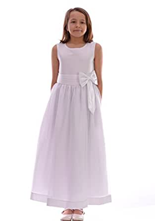Girls white dress wedding christening 6 12 month 9 10 for 12 month dresses for wedding