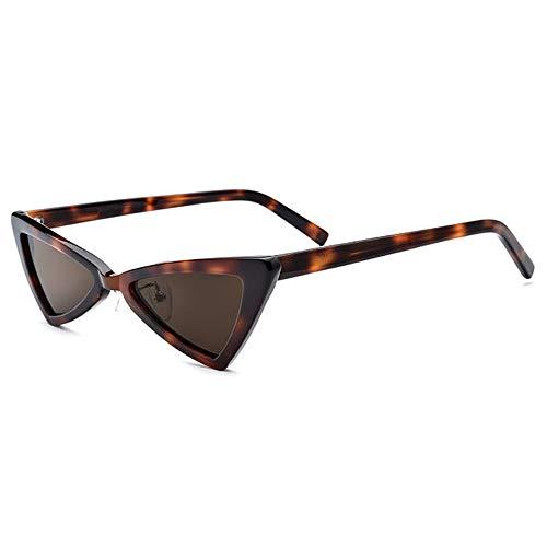 WULE-Sunglasses Unisex Kleine Grenze polarisierte Sonnenbrille Mode Dreieck Brille weibliche Retro Platte Cat Eye Sonnenbrille Leopard Frame Frame braune Linse UV400 Schutz