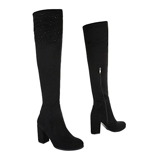 Overknee Stiefel Damenschuhe Klassischer Stiefel Pump High Heels Reißverschluss Ital-Design Stiefel Schwarz