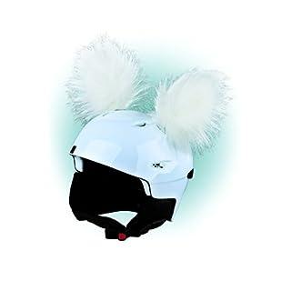 Crazy Ears Helm-Accessoires Ohren Katze Tiger Lux Frosch, Ski-Ohren geeignet für Skihelm, Motorradhelm, Fahrradhelm | Helm Dekoration für Kinder und Erwachsene, CrazyEars:Weiße Yeti Ohren