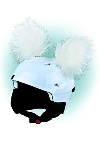 Crazy Ears Helm-Accessoires Ohren Katze Tiger Lux Frosch, Ski-Ohren geeignet für Skihelm, Motorradhelm, Fahrradhelm   Helm Dekoration für Kinder und Erwachsene, CrazyEars:Weiße Yeti Ohren