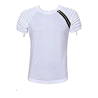 a2cf60484016 MEIbax Sport Shirt Männer Slim Fit Casual Tops Sommer Kurzarm T-Shirt  Falten Rundhals Zipper