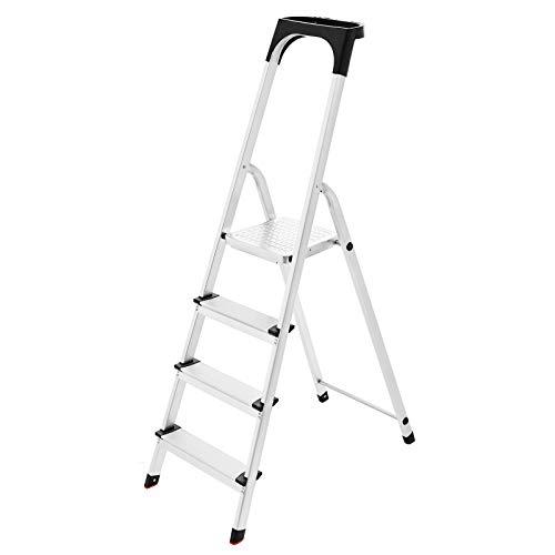SONGMICS Escalera doméstica con 4 peldaños, Escalera de aluminio antideslizante, Escalera plegable, con Pasamanos y bandeja, Carga máxima de 150 kg, Certificado TÜV SÜD GS según EN131 GLT04BS