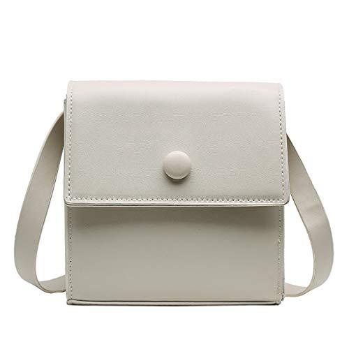 Ledertasche, Schultertasche, Geschenk, Handgefertigte Tasche,Frauen Joker Crossbody Fashion Button One-Shoulder Kleine quadratische Tasche ()