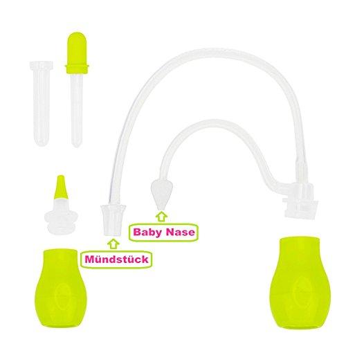 Baby Nasensekretsauger mit Medizin Pipette– IntiPal 2 in 1 Nasensauger Medizin-Pipette Pflegeset für Babys und kleine Kinder (Grün) - 5