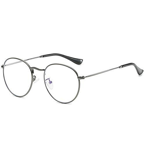 Polarisierte Anti-Blu-ray-Flachspiegel Metallrahmen Spiegel männliche und weibliche Brillengestell Abschlag ovale Brillengestell, grauer Rahmen flaches Licht