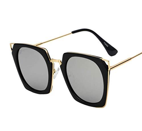 WYJW Großer übergroßer quadratischer Metallrahmen für Damen-Frauen-Sonnenbrille-Designer-stilvolle polarisierte Sonnenbrille-Stern-Gläser 100% Uv