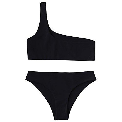 ZAFUL Damen Eine Schulter Bikini-Set Einfarbiger Badeanzug Sexy Bademode Schwarz S
