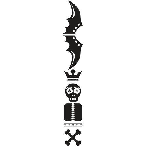 Set di adesivi Totem Skull, Nero