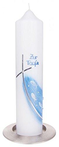 Croix de baptême motif poissons bleu