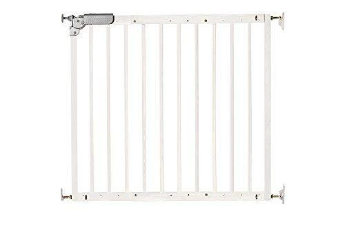 DOLLE Türschutzgitter Treppenschutzgitter aus Massivholz in Weiß. Breite 75,6 - 110,4 cm. Schwenkbares Kindersicherheitsgitter mit Einhand-Sicherheitsverschluss. TÜV/GS geprüft.