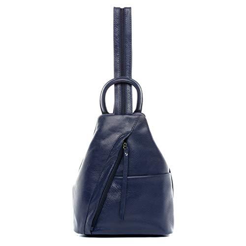 BACCINI Rucksack echt Leder Emilia klein Backpack Tagesrucksack Stadtrucksack Lederrucksack Lederrucksack Damen blau