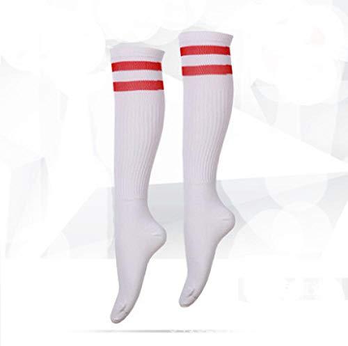 Abbay Socken, Männlich Und Weiblich, Erwachsene Kinder, Fußballsocken, Über Dem Knie, Rutschfeste Strümpfe @ White Socke Rot Strip_30-37 Meter Dicke Kinder