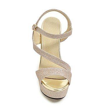 LvYuan Da donna Sandali Comoda Cinturino alla caviglia PU (Poliuretano) Estate Formale Comoda Cinturino alla caviglia Lustrini Oro Nero Argento Black