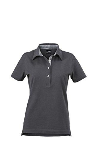 JAMES & NICHOLSON Damen-Polo mit modischem Karo-Einsatz graphite/graphite-white
