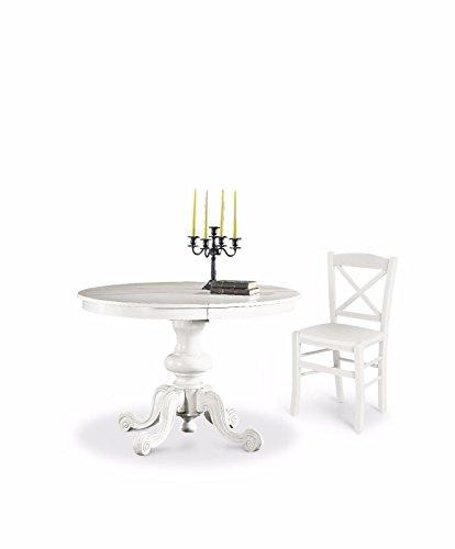 CLASSICO tavolo da pranzo shabby Chic bianco rotondo allungabile diametro 120 1320