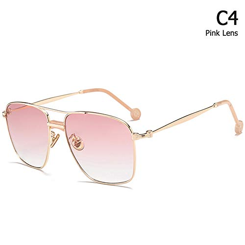 JU DA Sonnenbrillen Neue Mode Square Aviation Style Sonnenbrille Männer Frauen Cool Tint Ocean Lens Marke Design Sonnenbrille Oculos De Sol C4 Gradient Pink