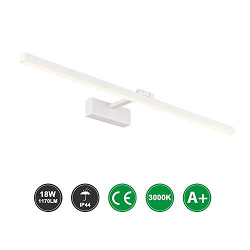 Klighten Lámpara LED de Espejo 18W 1170LM Lámpara de espejo Aplique 80cm 3000K Blanco...