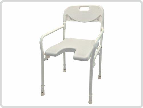 Faltbarer Duschstuhl (Duschhocker mit Arm- und Rückenlehne, faltbar, Farbe:weiß - Badehocker, Hocker, Duschstuhl, Duschsitz, Duschschemel)