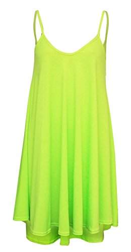Chocolate Pickle  ® Frauen Plus Size Cami Strappy Plain Tops Lange Swing-Kleid Neon Lime 52-54